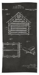 1920 Lincoln Log Cabin Patent Artwork - Gray Bath Towel