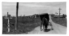 1920s 1930s Amish Man Driving Buggy Hand Towel