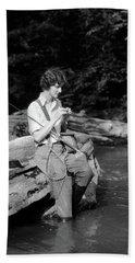 1920s 1930s Woman Sitting On Rock Bath Towel