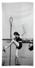 1920s Woman Crabbing Surprised By Crab Bath Towel