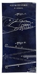 1922 Fish Mouth Opener Patent Drawing Blue Hand Towel by Jon Neidert