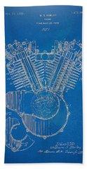 1923 Harley Davidson Engine Patent Artwork - Blueprint Bath Towel