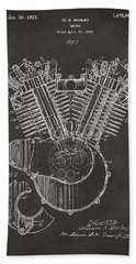 Bath Towel featuring the digital art 1923 Harley Engine Patent Art - Gray by Nikki Marie Smith