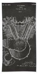 1923 Harley Engine Patent Art - Gray Bath Towel by Nikki Marie Smith