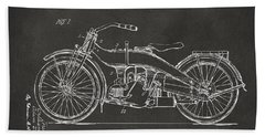 Bath Towel featuring the digital art 1924 Harley Motorcycle Patent Artwork - Gray by Nikki Marie Smith