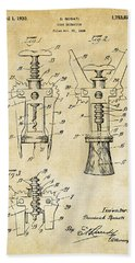 1928 Cork Extractor Patent Art - Vintage Black Hand Towel