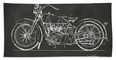 1928 Harley Motorcycle Patent Artwork - Gray Bath Towel