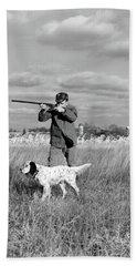 1930s 1940s Man Bird Hunting In Field Bath Towel
