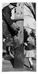 1930s Electric Linesman Rescuing Kitten Hand Towel