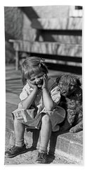 1930s Little Girl Sitting On Porch Hand Towel