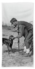 1930s Man Hunter With Shotgun In Corn Bath Towel