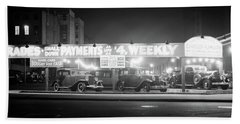 1930s New And Used Car Lot At Night Hand Towel