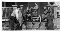 1930s Three Men Courting A Women Bath Towel