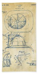 1932 Fireman Helmet Artwork Vintage Hand Towel