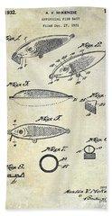 1932 Fishing Patent Drawing  Bath Towel