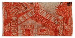 1935 Carved Maori House New Zealand Stamp Bath Towel