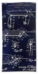 1935 Fishing Lure Patent Blue Bath Towel