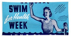 1935 Swim For Health Poster Bath Towel
