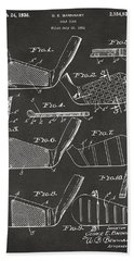 Bath Towel featuring the digital art 1936 Golf Club Patent Artwork - Gray by Nikki Marie Smith