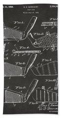 1936 Golf Club Patent Artwork - Gray Bath Towel
