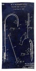 1938 Fishing Gaff Patent Drawing Blue Bath Towel