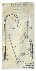 1938 Fishing Gaff Patent Drawing Bath Towel
