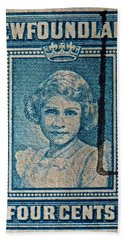 1938 Queen Elizabeth II Newfoundland Stamp Bath Towel