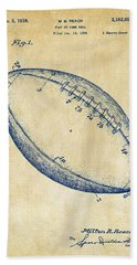 Hand Towel featuring the drawing 1939 Football Patent Artwork - Vintage by Nikki Marie Smith