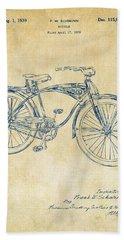 1939 Schwinn Bicycle Patent Artwork Vintage Hand Towel by Nikki Marie Smith