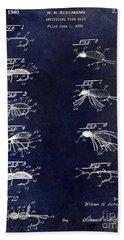 1940 Artificial Fishing Bait Patent Drawing Blue Bath Towel