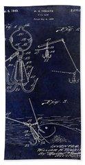 1940 Fishing Gaff Patent Drawing Blue Bath Towel