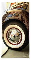 Hand Towel featuring the photograph Classic Maroon 1940 Ford Rear Fender And Wheel   by Jerry Cowart