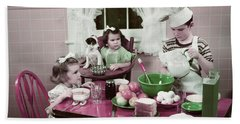1940s 1950s Boy Two Girls At Kitchen Hand Towel