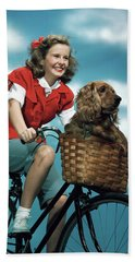 1940s 1950s Smiling Teen Girl Riding Bath Towel