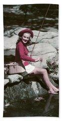 1940s 1950s Smiling Woman Fly Fishing Bath Towel