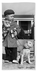 1940s Boy With Puppy On Leash Holding Hand Towel