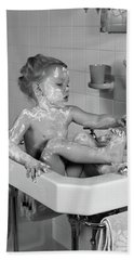 1940s Girl Sitting In Sink Lathered Hand Towel