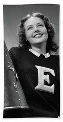 1940s Smiling Girl Wearing A Varsity Hand Towel