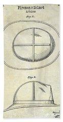 1941 Firemans Helmet Patent Drawing  Bath Towel