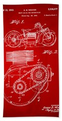 1941 Indian Motorcycle Patent Artwork - Red Hand Towel by Nikki Marie Smith