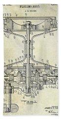 1942 Fishing Reel Patent Drawing Bath Towel