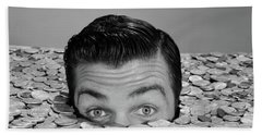 1950s 1960s Funny Man Buried Up To Eyes Bath Towel