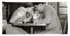 1950s 1960s Laughing Teenage Couple Boy Bath Towel