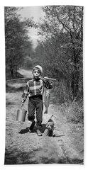 1950s Boy With Beagle Puppy Walking Bath Towel