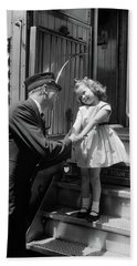1950s Conductor Greeting Little Girl Hand Towel