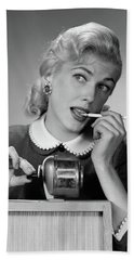 1950s Distracted Blond Woman Office Hand Towel