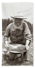 1950s Male Prospector Panning For Gold Bath Towel