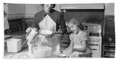 1950s Mother & Daughter Baking A Cake Hand Towel