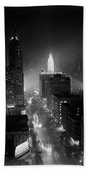 1950s Night Aerial Chicago Illinois Bath Towel