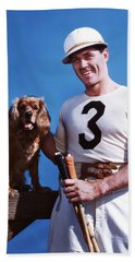 1950s Smiling Man Polo Player Posing Bath Towel